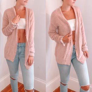Fuzzy Long Pink Cardigan